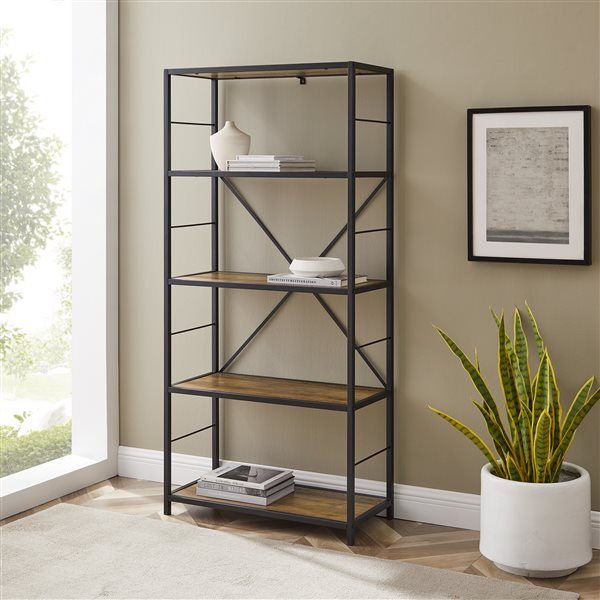 63-in Rustic Metal and Wood Media Bookshelf - Rustic Oak