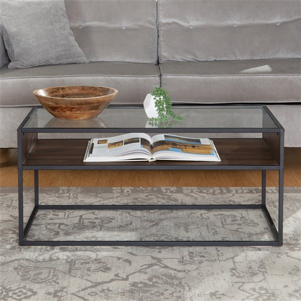 Walker Edison Rustic Industrial Metal and Glass Coffee Table - 40-in - Dark Walnut