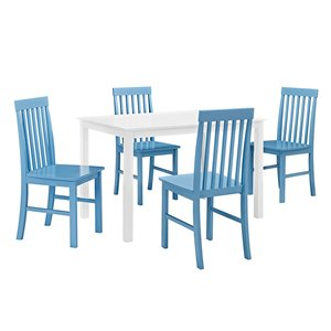 5-Piece Modern Dining Set - White/Powder Blue