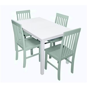 5-Piece Modern Dining Set - White/Sage