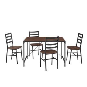 5-Piece Industrial Angle Iron Dining Set - Dark Walnut