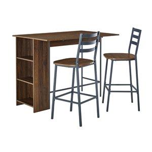 3 Piece Drop Leaf Counter Table Set - Dark Walnut