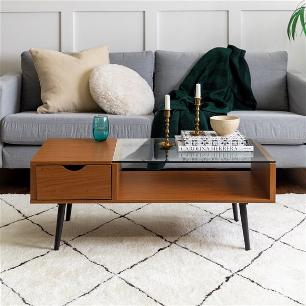 Walker Edison Wood and Glass Coffee Table with Drawer - 42-in - Acorn