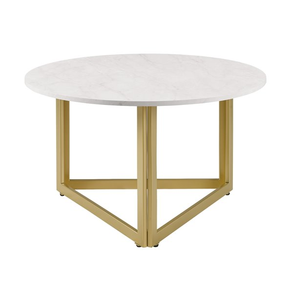 Walker Edison Faux Marble And Metal Round Coffee Table 32 In White Lwf32nivctwm Rona