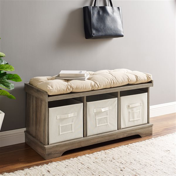 Walker Edison Transitional Modern Farmhouse Wood Entryway Storage Bench With Cushion And Totes Lw42stcgw Rona