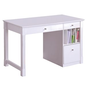 Home Office Deluxe White Wood Storage Computer Desk