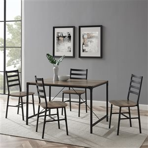 5-Piece Industrial Angle Iron Dining Set - Grey Wash