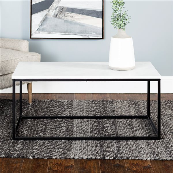 Walker Edison Mixed Material Coffee Table - 42-in - Marble