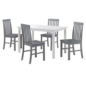 5-Piece Modern Dining Set - White/Grey