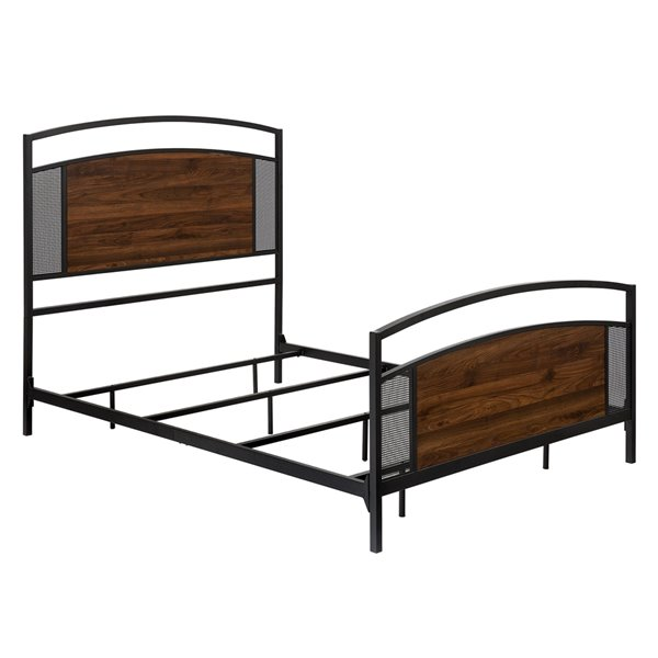 Queen Industrial Mesh Bed - Dark Walnut Panel