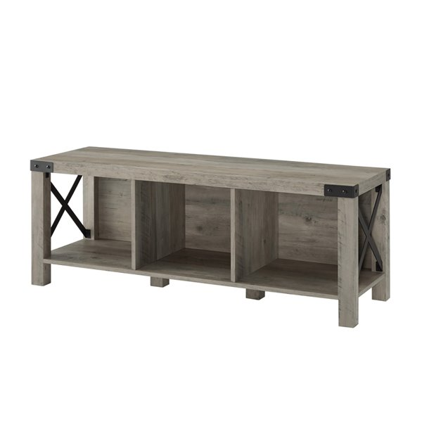48-in Farmhouse Wood & Metal Entry Bench - Grey Wash