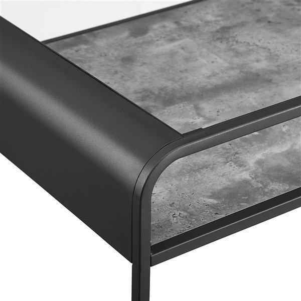 Walker Edison Reversible Metal Coffee Table - 42-in - Concrete/Reclaimed Barnwood