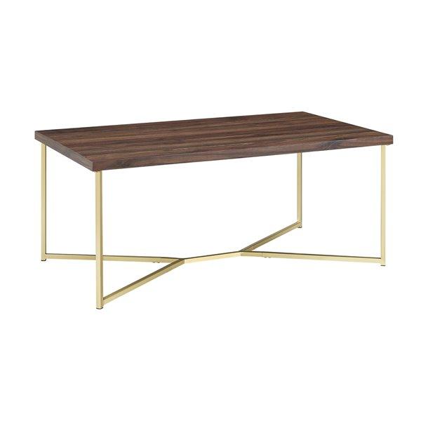 Walker Edison Mid Century Modern Coffee Table 42 In Dark Walnut Gold Lwf42luxdwg Rona