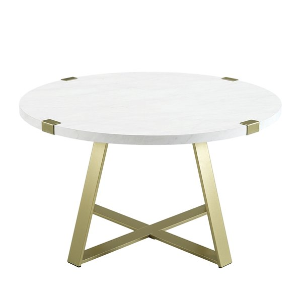 Walker Edison Round Coffee Table - White Faux Marble/Gold