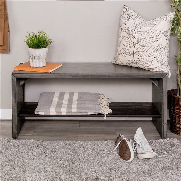 42-in Solid Rustic Reclaimed Wood Entry Bench - Gray