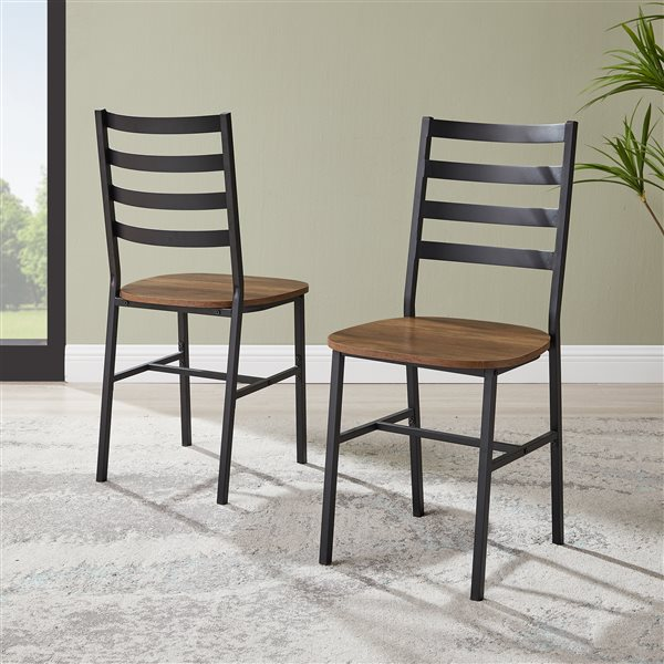 Slat Back Metal and Wood Dining Chair, 2-Pack - Reclaimed Barnwood