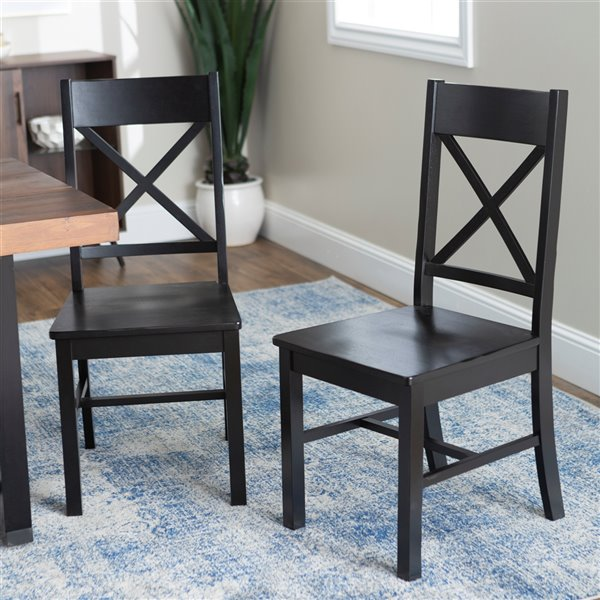 Antique Black Wood Dining Kitchen Chairs, Set of 2