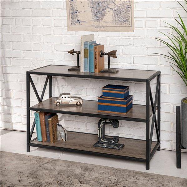 40-in X-Frame Metal and Wood Media Bookshelf - Driftwood
