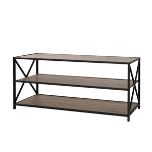 60-in X-Frame Metal and Wood Console Table - Driftwood