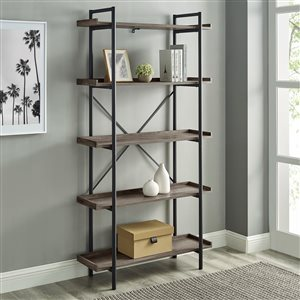 Walker Edison Industrial Metal Bookcase - 68-in - Grey Wash