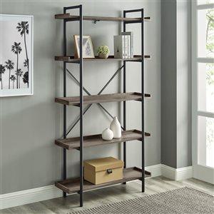 Walker Edison Industrial Metal Bookcase - 68-in - Grey Wash
