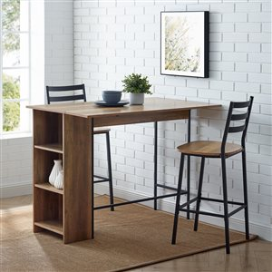 3 Piece Drop Leaf Counter Table Set - Reclaimed Barnwood