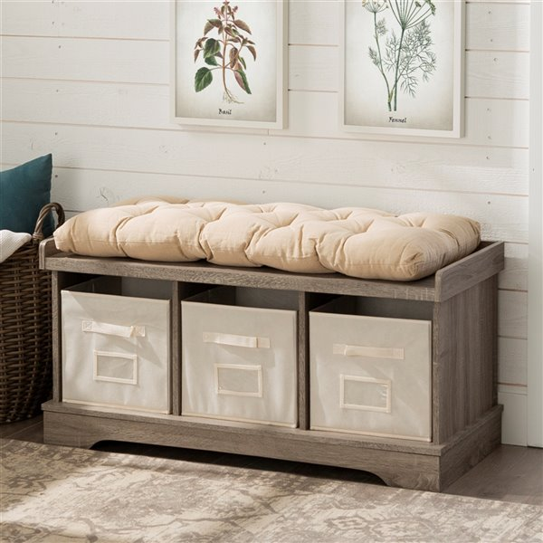 42-in Wood Storage Bench with Totes and Cushion - Driftwood