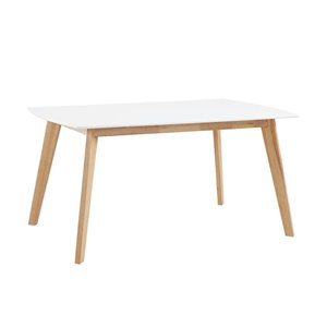60-in Mid Century Modern Wood Dining Table  - White/solid wood