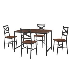 5-Piece Angle Iron Dining Set w/X Back Chairs- Dark Walnut