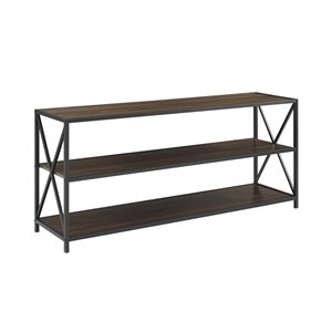 60-in X-Frame Metal and Wood Console Table - Dark Walnut