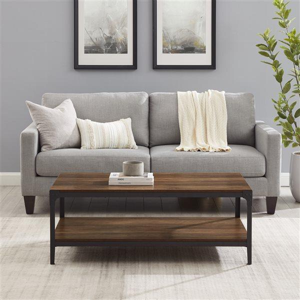 Walker Edison  Angle Iron Rustic Wood Coffee Table - Rustic Oak