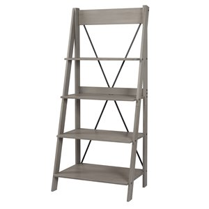 Walker Edison Solid Wood Ladder Bookshelf - 68-in- Grey