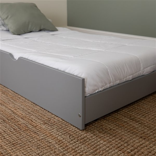 Solid Wood Twin Trundle Bed - Grey