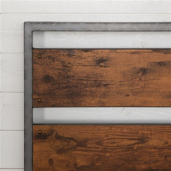 Queen Size Metal and Wood Plank Panel Headboard - Brown