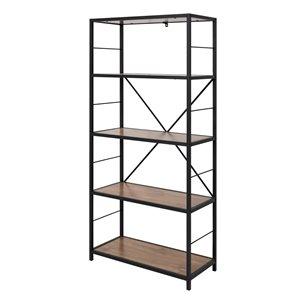 63-in Rustic Metal and Wood Media Bookshelf - Barnwood