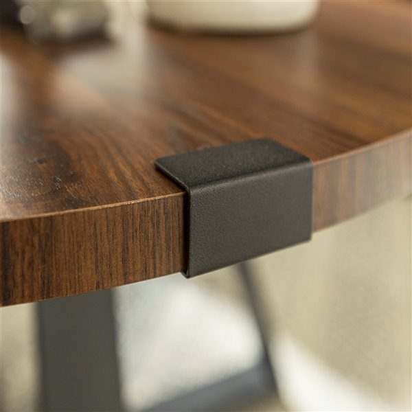 Walker Edison Rustic Wood and Metal Round Coffee Table - Dark Walnut/Black