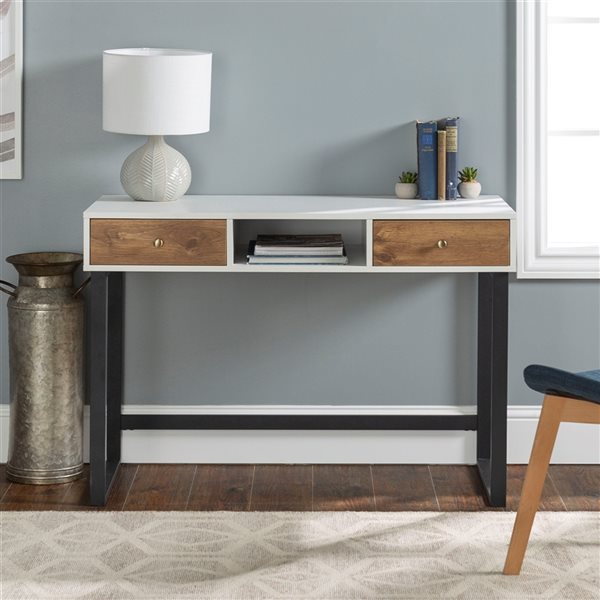 44-in Urban Industrial Two Tone Computer Desk With Drawers - White/Barnwood