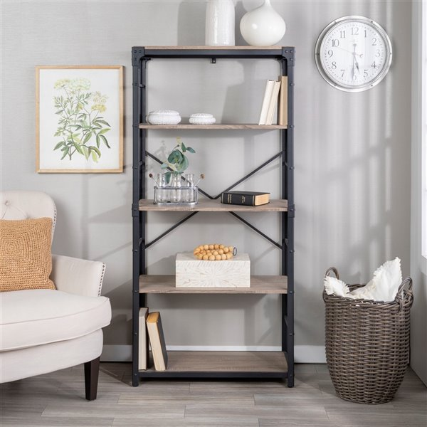 64-in Angle Iron Bookshelf - Driftwood