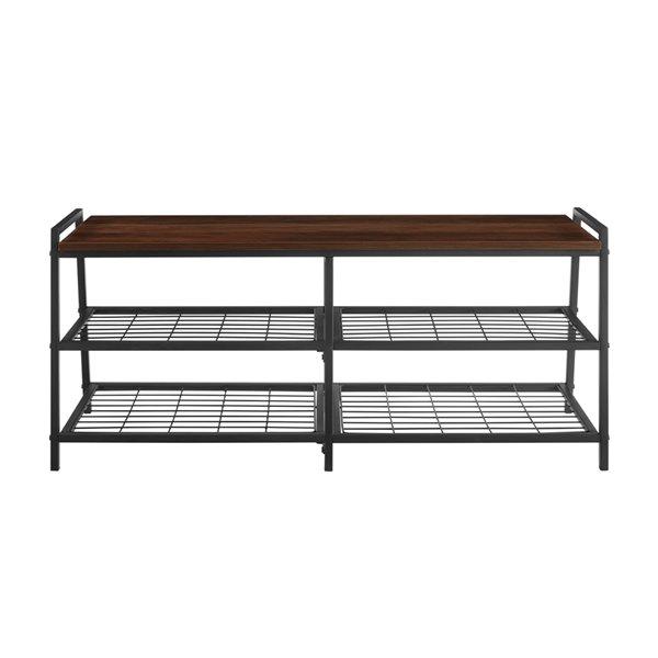 42-in Industrial Metal & Wood Entry Bench - Dark Walnut