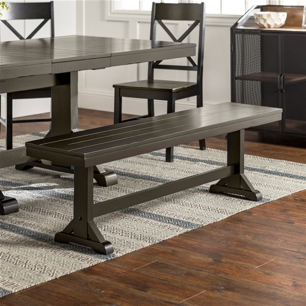 60-in Wood Dining Bench - Antique Black