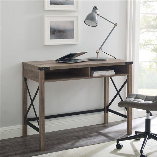 42-in Farmhouse Metal & Wood Desk - Grey Wash