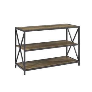 40-in X-Frame Metal and Wood Media Bookshelf - Rustic Oak