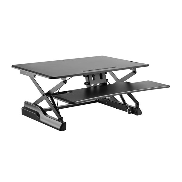 TygerClaw Gas Spring Sit-Stand Desktop Workstation - 19.7-in x 35.4-in - Black