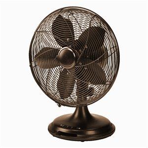 Ventilateur de bureau rétro Ecohouzng, 3 vitesses, 12 po, noir