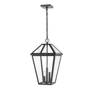 Z-Lite Talbot 3 Light Outdoor Chain Mount Ceiling Fixture - 12.25-in x 21.5-in - Black/Clear Glass