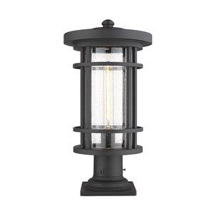 Luminaire d'extérieur montable sur poteau Jordan de Z-Lite à 1 ampoule, base carrée, 10 po x 19,75 po, noir/verre texturé