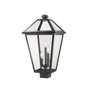 Z-Lite Talbot 3 Light Outdoor Post Mountable Fixture - 12.25-in x 22.75-in - Black/Clear Glass