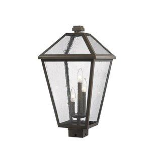 Luminaire d'extérieur montable sur poteau Talbot de Z-Lite à 3 ampoules, 12,25 po x 22,75 po, bronze frotté/verre texturé