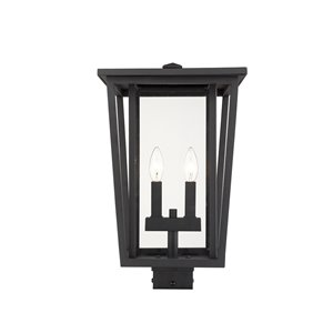 Z-Lite Seoul 2 Light Outdoor Post Mountable Fixture - 11.25-in x 18.25-in - Black/Clear Glass