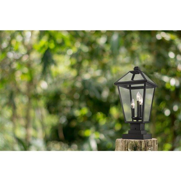 Luminaire d'extérieur montable sur colonne Talbot de Z-Lite à 3 ampoules, 10 po x 21,5 po, noir/verre clair